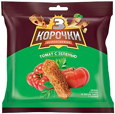 «3 Корочки», сухарики со вкусом томата и зелени, 40г