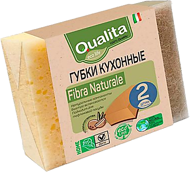 Губки «Qualita» FIBRA NATURALE, 2шт