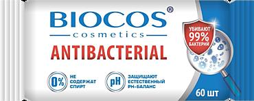 Влажные салфетки «BioCos» антибактериальные, 60шт