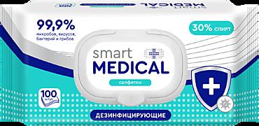 Влажные салфетки «Smart medical» дезинфицирующие, 100 шт