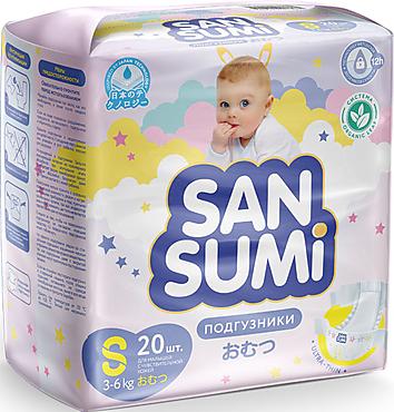 Подгузники, размер S (3-6 kg) «Sansumi», 470г