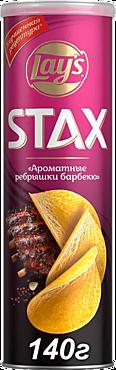 Чипсы «Lay's» STAX ребрышки барбекю, 140г