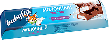Шоколадный батончик с молочной начинкой «BabyFox», 45г