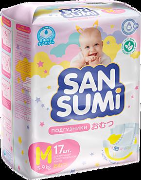 Подгузники «Sansumi» размер M (5-9 кг), 17шт