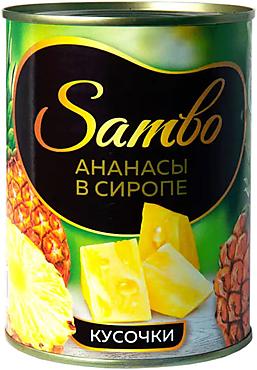 «Sambo», ананасы в сиропе, консервированные, кусочки, 565г