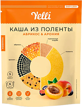 Каша из поленты «Yelli» абрикос-арония, 200г