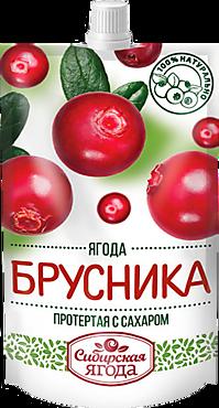 Брусника «Сибирская Ягода» протертая с сахаром, 280г