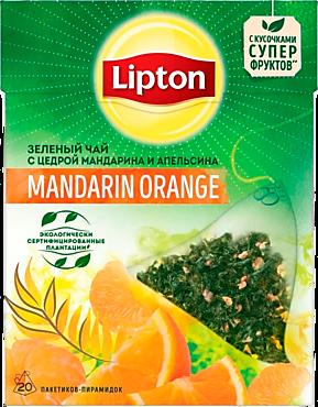 Зеленый чай «Lipton» с цедрой мандарина и апельсина, 20 пирамидок