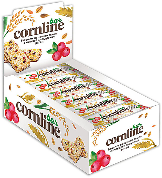 Батончик Cornline из цельных злаков с клюквой и воздушным рисом, 30г – купить по лучшей цене с бесплатной доставкой в интернет-магазине KDV