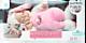Спящий мальчик-зайчик в бело-розовой шубке