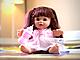Кукла с длинными волосами в платье с цветочками, с бутылочкой, 30 см